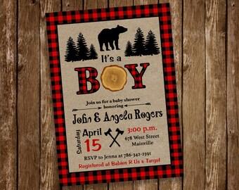 Lumberjack Baby Shower Invitation, Boy Baby, Baby Shower, Rustic - Digital or Printed