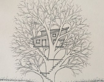 Treehouse sketch in ink on Canson paper