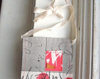 Hemp flat wallet clutch pochette  handbag bag,  black  festival  tribal boho steampunk, one of a kind