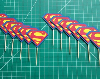 12 Superman Cupcake Toppers/Superman Party/Superman Cupcake Toppers