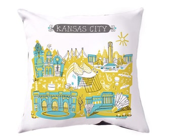 Kansas City Pillow Cover-Home Goods-Kitchen-Turquoise-Yellow-Grey-16 x 16