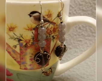 Purple Glass Bead Earrings ear001