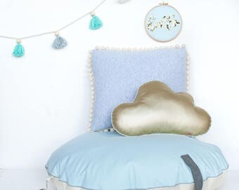 "Round stuffed pouf ""Mint disk"" bean bag ottoman pouf floor pillow kids room nursery cushion"