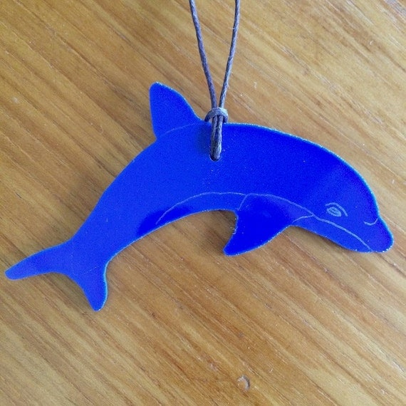 Dolphin Stained Glass Ornament  Made in Hawaii Deesigns by Harris Free Gift Wrap