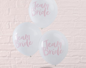Team Bride Balloons, Hen Party Balloons, Bachelorette Party Decorations, Balloons, Pink and White Modern Script Balloons, Bridal Shower