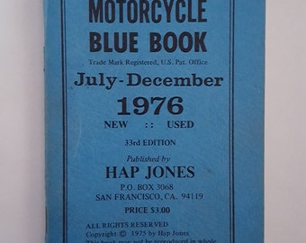 Vintage Hap Jones Motorcycle Blue Book July to December 1976, new and used motorcycles