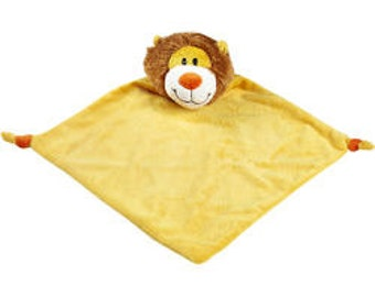 Machine Embroidered baby cubbies LION baby blanket.  Personalized with name/monogram embroidered in corner.