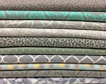 """10x FQ's Assorted GREY Quilting Fabric - 100% Cotton - 18"""" x 22"""" inches  - FAT Quarter Bundle"""