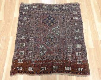 Vintage Rug Worn Brown Afghan Oriental Rug 3' 1 x 3' 8