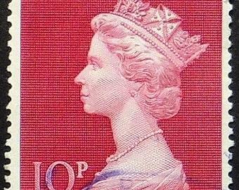 Queen Elizabeth, UK -Handmade Framed Postage Stamp Art 21227AM