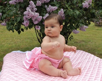 Ruffles ,Ribbons and Bow - Pink Baby Bloomers