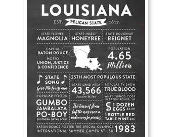 State Print, Louisiana State, Louisiana Map, State Art, State Poster, State Infographic, Gift For Men, State Facts, Louisiana Art
