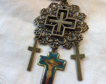 Handmade Religious Necklace with Four Crosses Antique Brass Enamel Work