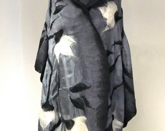 Art felted scarf, Shades of gray silk and  merino wool, wearable art, black and white, ready to ship, FREE SHIPPING!