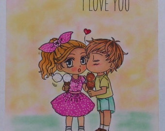 I Love You hand made greeting card handmade valentines day