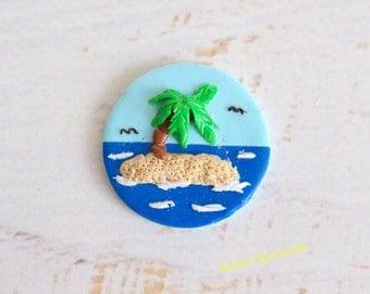 Refrigerator Magnet Island polymer clay kitchen decoration