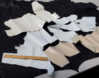 White/Ivory mix Upholstery cowhide leather scrap  0.45 KG