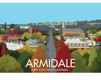 Armidale, New South Wales, Australia - signed travel poster print