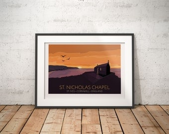St Nicholas Chapel, St. Ives, Cornwall, England, UK - signed travel poster print