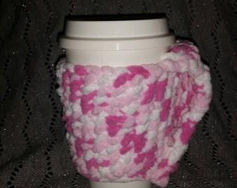 Pink Shades Fleecy Cup Cozy, Handmade, Crochet
