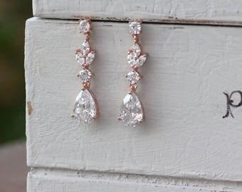 Rose Gold Earrings, Crystal Bridal Earrings, Crystal Drop Earrings, Rose Gold Teardrop Earrings, Rose Gold, Gold or White Gold, ASHLEY