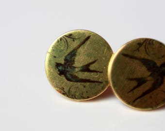 Earrings, 12 mm, bird, swallow