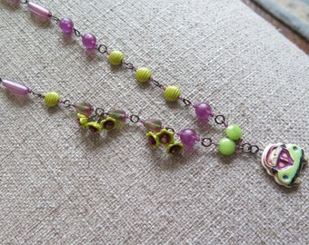 raspberry pink necklace, raspberry and chartreuse necklace, lime  and magenta necklace, car necklace, fun necklace, pink and green necklace