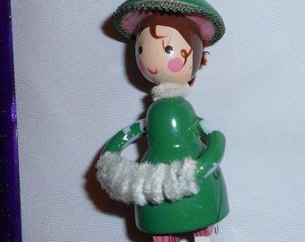 2 Vintage Girl Ornaments Christmas Tree Retro