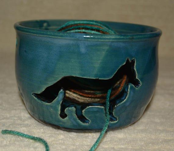 Yarn Bowl, Fox, Stoneware, Ceramic, Yarn, Peacock Blue, Black, Paw Prints, Knitting, Crocheting, Craft Storage,