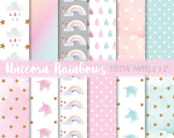 Watercolor unicorn paper, Einhorn paper, Unicorn digital paper, Pastel digital background, Unicorn scrapbooking, Rainbow unicorn paper