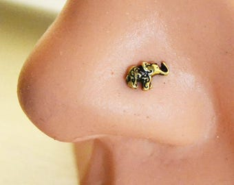 Elephant Nose Stud, Antique Gold Nose Stud, Tiny Nose Ring, Nose Pin Stud Post, Nose Jewelry Silver 316L Surgical Steel