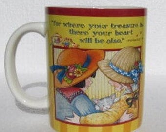 "2005 ""The Reward of Friendship Is Itself"" Extra Large Ceramic Mug For The Gift of Art By Me, Ink"