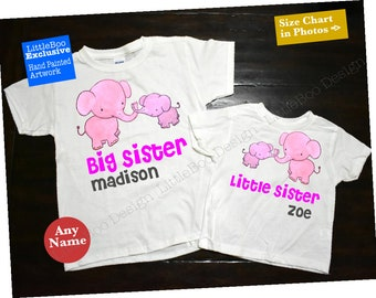 Big Sister Little Sister, Big Sister Little Sister shirts, Pink elephants big sister and little sister matching outfits