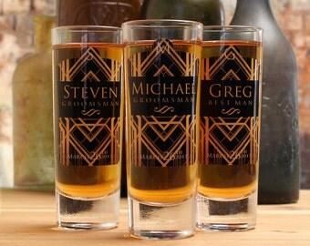 Personalized Shot Glasses, Set of 6, Art Deco