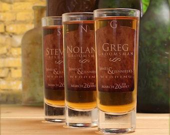 Gifts for Groomsmen, Set of 9, Custom Shot Glasses