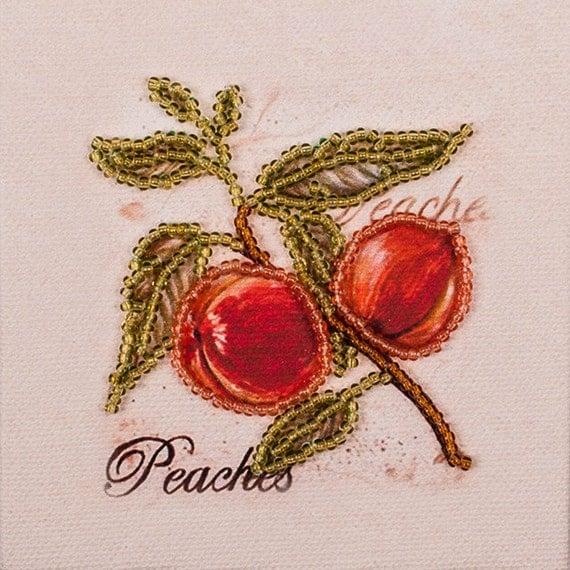Peaches Fridge magnet DIY bead embroidery needlework kit craft set