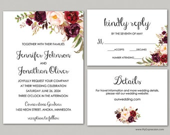 Rustic Floral Wedding Invitation Set (9059) - Burgundy Roses Bouquet - INSTANT DOWNLOAD - Ready to Print - Editable PDF