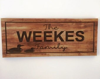LakeHouse Signs Family Last Name Welcome Signs Loons Ducks Wood carved wooden Sign Wooden Carved Cabin Cottage Signs Benchmark Signs