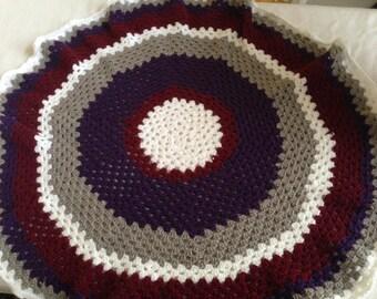 Mandala afghan, round lap blanket, wheelchair blanket, crochet couch throw