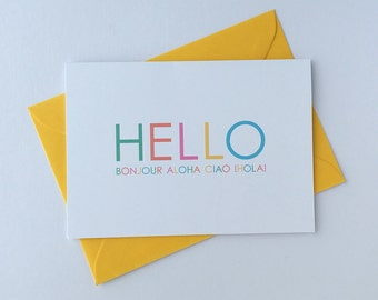 Hello note card. Bright greeting card with yellow envelope. A6. Blank inside.