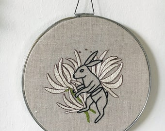 Hand Embroidered Sliced Rabbit and White Floral Wall Art