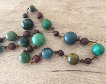 Wooden necklace, wooden green necklace