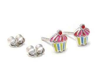Cupcake Stud Earrings 925 sterling silver