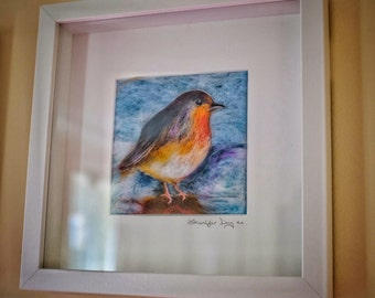 Robin Red Breast bird needle felted watercolour painting in deep set frame