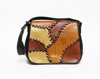 vintage 70s faux leather vegan patchwork boho purse hippie handbag