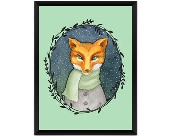 Picture, print, fox with scarf, illustration, human animal, poster,wall decor, A4, A3