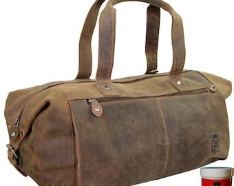Sports bag - Gym bag BATTUTA of brown leather
