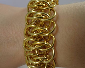 Gold Viperscale Chainmail Bracelet, Viperscale Chainmaille Bracelet,
