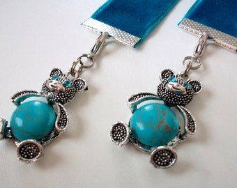 Turquoise Velvet Ribbon Bookmark w/Bear