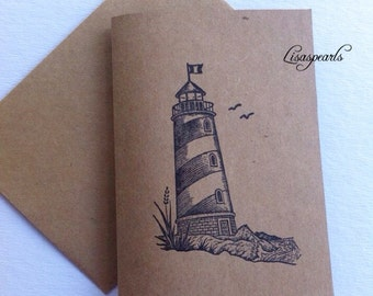 7 Lighthouse note cards.Greeting cards, inspirational. Hand stamped outside of card and blank inside, Plain envelopes, 7 cards, 7 envelopes.